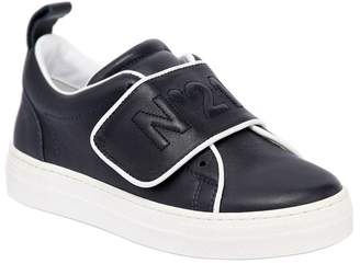 N°21 Logo Leather Strap Sneakers