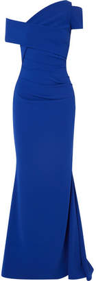 Talbot Runhof One-shoulder Ruched Crepe Gown - Royal blue