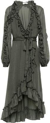 Zimmermann Ruffle-trimmed Silk-jacquard Wrap Dress