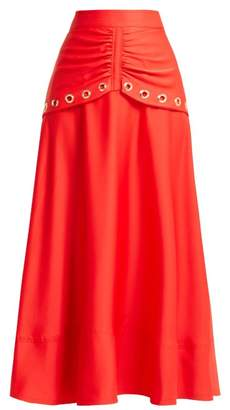 Self-Portrait Self Portrait Eyelet Embellished Satin Skirt - Womens - Red