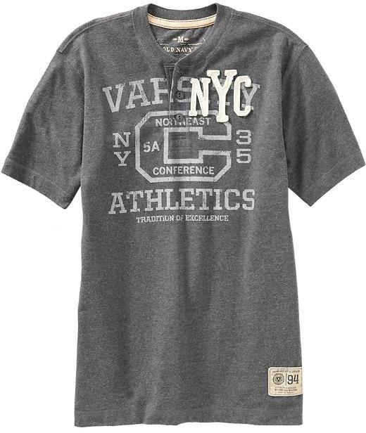 Men's Vintage-Style Graphic Henleys