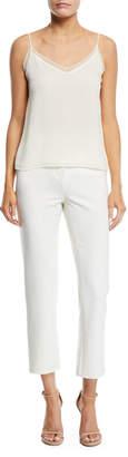Oscar de la Renta Two-Pocket Straight-Leg Stretch-Wool Pants