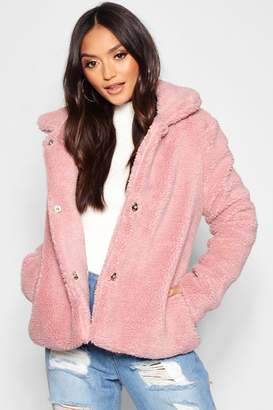 boohoo Petite Revere Collar Cropped Teddy Coat