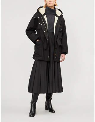 Sandro Faux-shearling lined parka coat