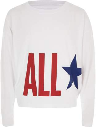 Converse River Island Girls White 'All Star' print top