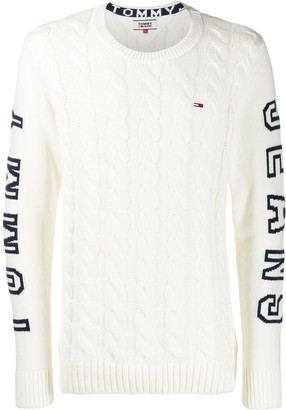 Tommy Jeans panelled cable-knit jumper