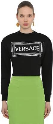 Versace Cropped Logo Printed Cotton Sweatshirt