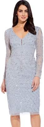 Adrianna Papell Blue Heather Beaded Midi Sheath Dress