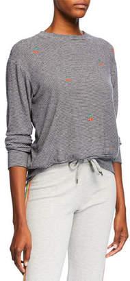 Sundry Cherries & Stripes Long-Sleeve Crewneck Shirt