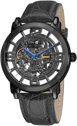 Stuhrling Original Sthrling Original Mens Gray Dial Croc-Look Strap Skeleton Automatic Watch