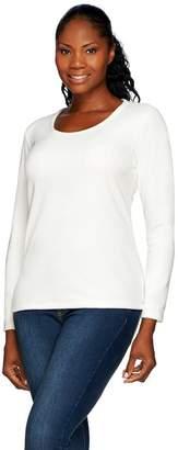 Denim & Co. Velour Long Sleeve Scoop Neck Top