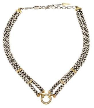 Lagos Two Tone Diamond Circle Choker Necklace