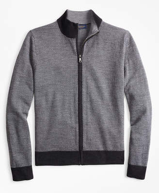 Brooks Brothers Merino Wool Micro-Diamond Full-Zip Sweater