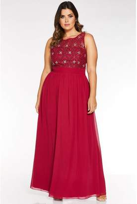 Quiz Curve Berry Chiffon Embroidered High Neck Maxi Dress
