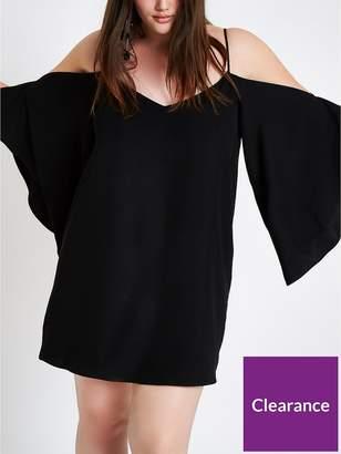 River Island RI Plus Cami Cold Shoulder Swing Dress - Black