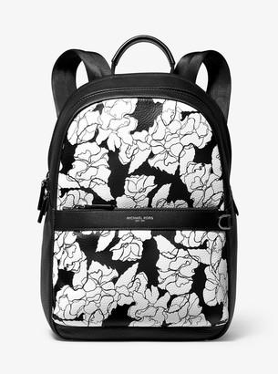 Michael Kors Greyson Floral-Print Pebbled Leather Backpack