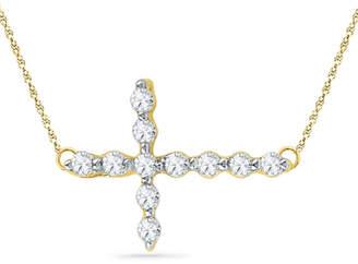 Zales 1/20 CT. T.W. Diamond Sideways Cross Necklace in 10K Gold