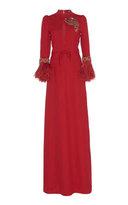 Andrew Gn Feather-Trimmed Embellished Crepe Gown