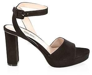 b0f2fa90ba3 Women's Suede Block Heel Platform Sandals