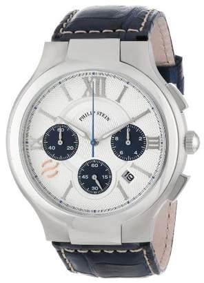 Philip Stein Teslar Men's 45-CRSILBL-ASN Round Silver and Navy Chronograph Dial Navy Stitched Alligator Strap Watch