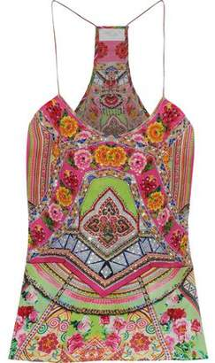 Camilla Hani Honey Crystal-Embellished Printed Silk Crepe De Chine Camisole