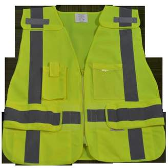 Petra Roc LV2-LPSV-REG Public Safety Vest 207-2006 Lime Solid Breakaway with Non-Cloth Hook & Eye Breakaway Zipper 5 Pockets, Regular Small & Extra Large