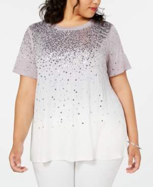 INC International Concepts Inc Plus Size Sequin Ombre Top
