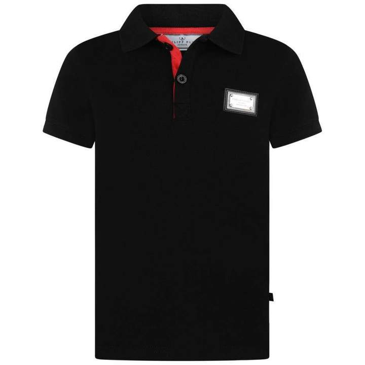 Philipp PleinBoys Black Logo Print Polo Top