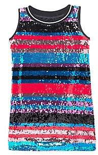 Mia Girl's Striped Sequin Shift Dress