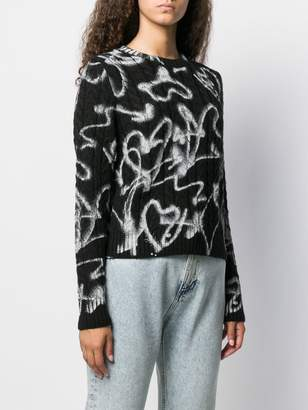 MSGM heart print cable knit jumper