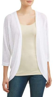 Time and Tru Women's Pointelle Open Cardigan