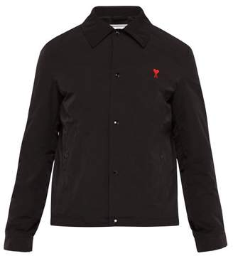Ami Logo Embroidered Technical Fabric Jacket - Mens - Black
