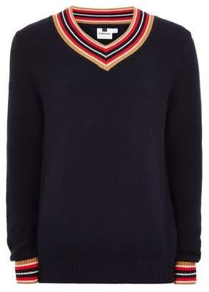 Topman Mens Navy Textured V Neck Sweater
