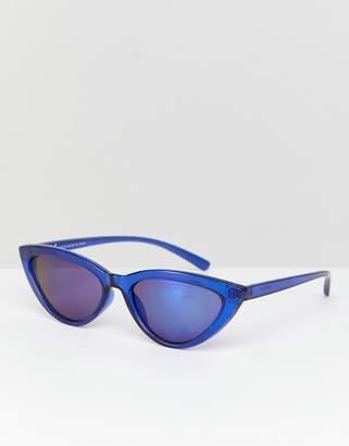 Weekday Mini Cat Eye Sunglasses In Blue