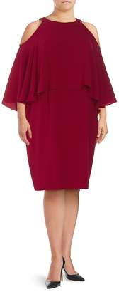 Adrianna Papell Women's Plus Ruffle-Trimmed Cold-Shoulder Dress