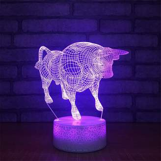 YiLight USB Powered Stunning Cattle 3D Touch Optical Illusion Night Light Crackle Paint Base 7 Colors Changing Beside Table Desk Deco Lamp Bedroom Nightlight Toy for Kids Gifts
