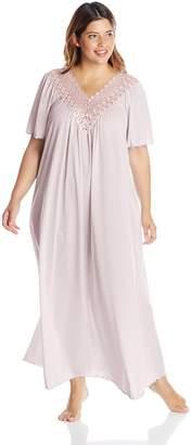 Shadowline Women's Plus Size Beloved 53 inch Flutter Sleeve Long Gown