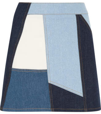 Victoria Beckham Victoria, Patchwork Denim Mini Skirt - Mid denim
