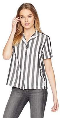 Calvin Klein Jeans Women's Short Sleeve Cropped Button Down Shirt Striped