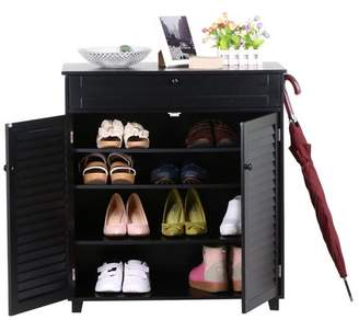URBAN RESEARCH Yaheetech 3 Shelves Shoe-Storage Cabinet with 1 Drawer 2 Black