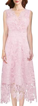 Roland Mouret KIMILILY KMILILY Women's Elegant V neck Sleeveless Floral Lace Bridesmaid Dress(L)