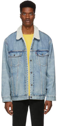 Levi's Levis Blue Type 3 Mustard Sherpa Trucker Jacket