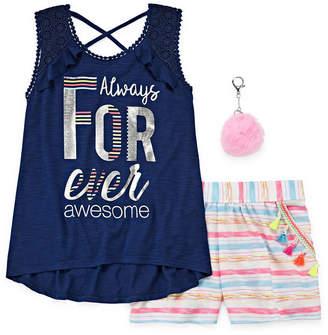 Self Esteem Graphic Tank Top with Striped Short Set - Girls' 4-16 & Plus