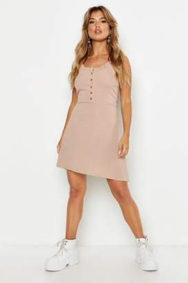 boohoo Ribbed Button Front Frill Swing Dress