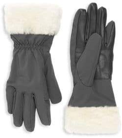 UGG Shearling Cuffed Leather Tech Gloves