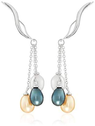 The Ear Pin Silver with Interchangeable Teardrop Pearls Enhancer Earrings