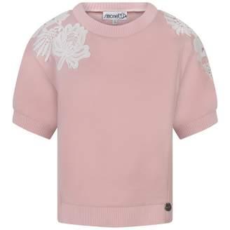 Simonetta SimonettaPink Sweatshirt With Embroidered Lace