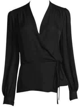 L'Agence Cara Wrap Silk Blouse