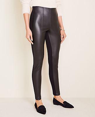 Ann Taylor Petite Faux Leather Seamed Side Zip Leggings