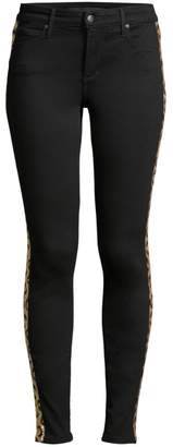 Joe's Jeans Charlie High-Rise Sequin Leopard Stripe Ankle Jeans